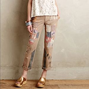 Anthropologie Pilcro Hyphen Patched Chinos 27